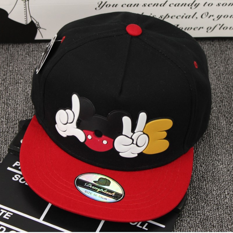 New cartoon Mickey offset parent-child   baseball     cap   Adult Children's flat along the hip-hop   cap   summer sun hat adjustable