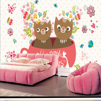 3D Stereoscopic Cup Cats Murals Custom Catoon Pattern Wallpapers Kids Murals for Children Room Walls Papers Flowers Background
