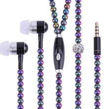 8-color pearl necklace headphone wire control sports stereo in-ear headphones universal smartphone high quality volume(China)