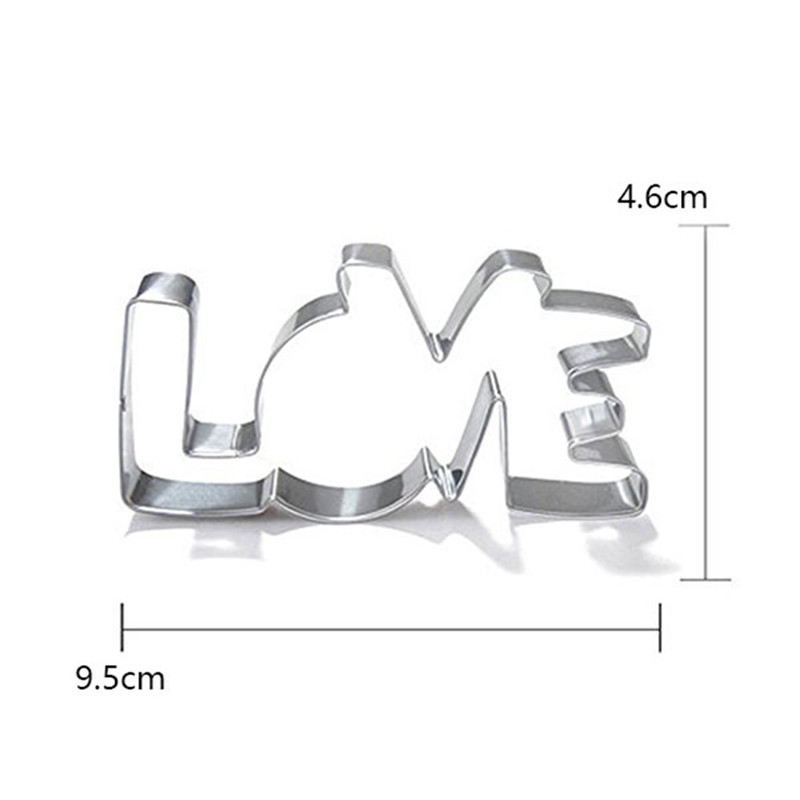 Stainless Steel Cookie Cutter LOVE Letter Shape Forms For Biscuit Mold Bakeware Pastry Confectionery Tools Fruit Cutting Mould