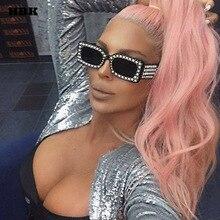 HBK Sexy Luxury New Pearl Crystal Small Square Women Men Sunglasses Goggle Black Sun glasses Gradient Oculos 2018 Ladies Brand