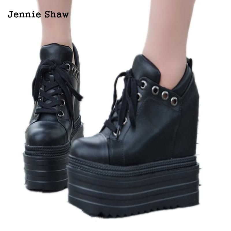 Thick Bottom Wedges Martin Boots Women s Short High Heel Lace Up Ankle Boots Black White