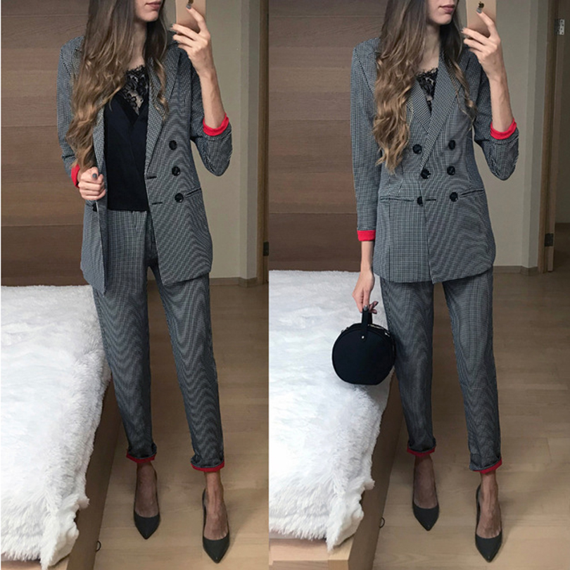 Taotree femmes costume bureau dames vêtement professionnel mode rouge manchette plaid salopette double boutonnage costume