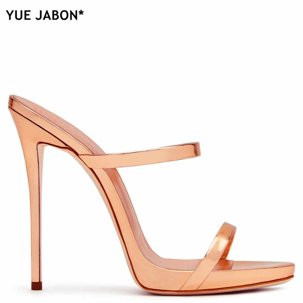 398937958e306 ... 2019 Women Two Straps High Heels Rose Gold Patent Leather Strappy  Sandals Ladies Cute Slippers Sexy ...