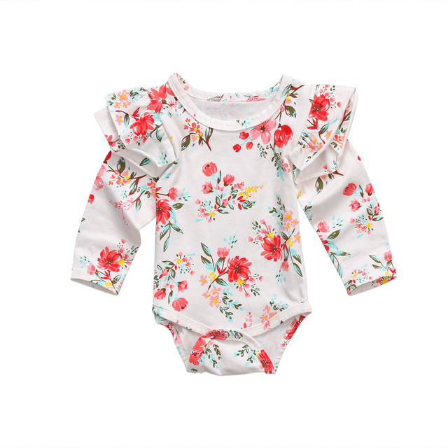 4c240d9931 Pudcoco Cotton Newborn Baby Girls Flying Sleeve Flower Bodysuit Long  Sleeves Jumpsuit Cute Clothes Warm 0