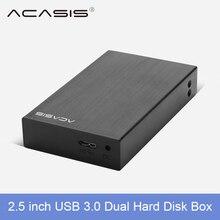 Acasis USB 3.0 2.5″ Dual Hard Drive Disk Raid Enclosure Support two 5TB HDD RAID0 RAID1 JBOD SPAN Aluminum Alloy 5Gbps disk box