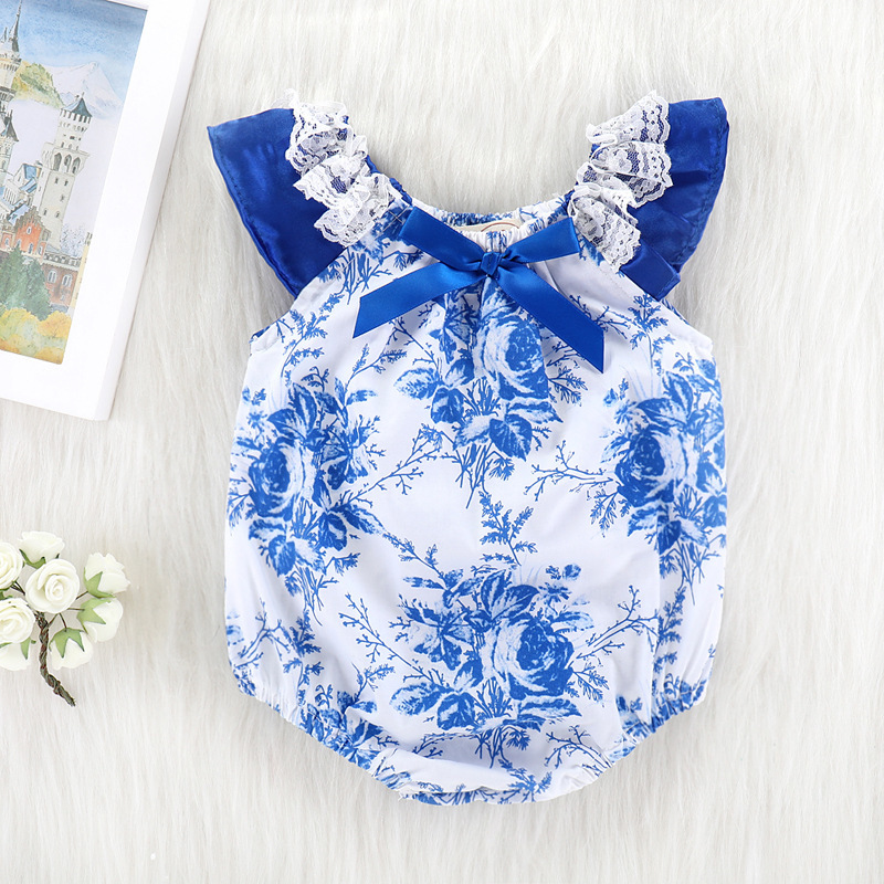 2018 New Fashion One Shoulder Off Lace Neck Blue Floral Romper Printing Climb Newborn Clothes China Onesie Baby Jumpsuit