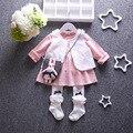 2016 nuevo otoño 100% algodón Marcas vestido de los bebés y niñas vestido de traje de princesa dress + vest 2 unids/set niño Envío gratis