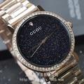 GUOU персонализированные новые часы из нержавеющей стали с синим алмазным песком  модные часы со звездами  женские часы с шасси