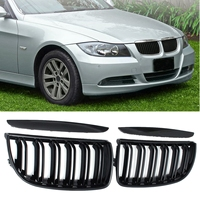 For BMW E90 E91 4 Door 2005 2006 2007 2008 #GCP 039011 Pair Front Gloss Black Double Slat Sport Kidney Grille Grill Set