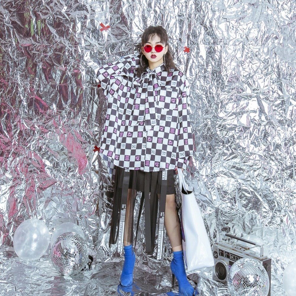 Tassels High Thin Gauze Letter 2018 Mosaic The Female Ribbon Street Waist Skirt Original wWqZCn4xA