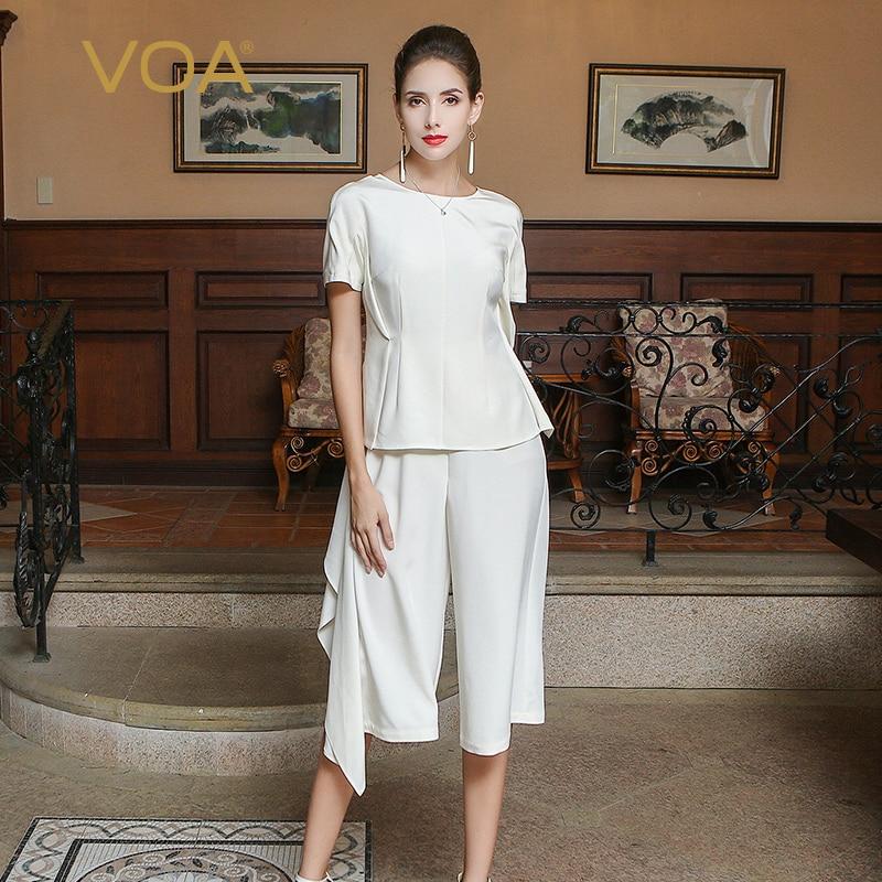 VOA 2017 Autumn Slim Pure White Heavy Silk Fake Two Piece Set Jumpsuit Fashion Solid Simple Plus Size Women Pants KLX00301