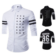 Brand New Men's Casual Shirt Social Spot & Number Print Shirt Full Sleeve Turn Down Collar