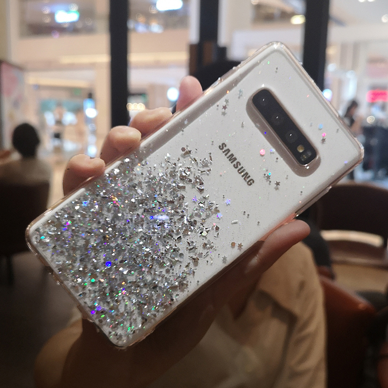 Fashion Glitter Bling Crystal Sequins Case for Samsung Galaxy S10 S9 S8 Plus Silicone Soft TPU Back Cover Transparent Phone Case in Fitted Cases from Cellphones Telecommunications