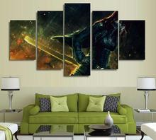 5 Panels Wall Art Anime Erza Scarlet Fairy Tail 5 Pieces Paintings Canvas Poster Unframed 9004