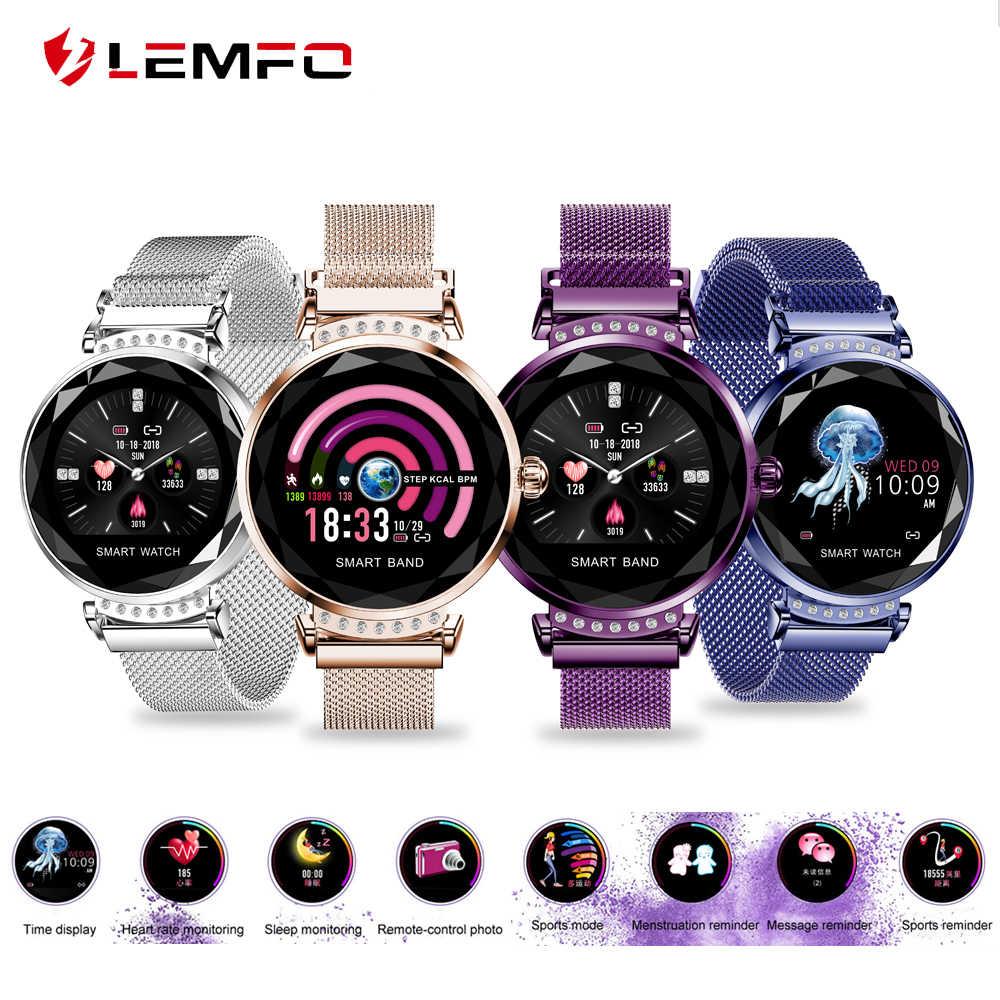 LEMFO H2 Luxury Smart Assista Mulheres Senhoras moda Smartwatch À Prova D' Água Freqüência Cardíaca Rastreador De Fitness para Android IOS Telefone PRESENTE H1