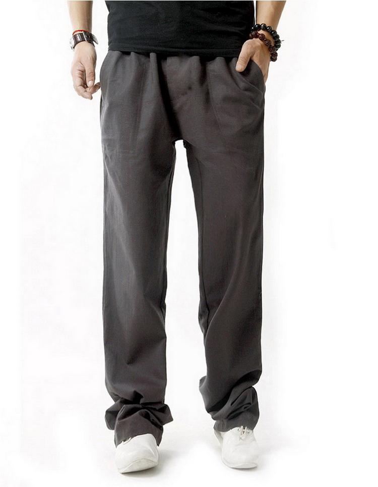 Pantalon pour hommes en lin et coton gris foncé