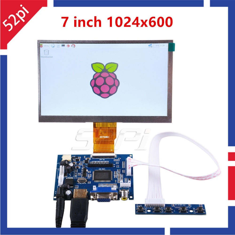 52Pi 7 Inch LCD 1024*600 Display Monitor Screen Kit With Drive Board (HDMI+VGA+2AV) For Raspberry Pi 4 B All Platform/PC Windows