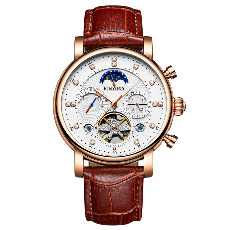 Kinyued Skeleton Tourbillon Mechanical Watch Automatic Men Classic Male Gold Dial Leather Mechanical Wrist Watches J025P-1 kinyued skeleton tourbillon mechanical watch automatic men classic male gold dial leather mechanical wrist watches j026p 2