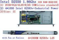 Брандмауэр сетевой маршрутизатор сервер с D2550 4 Ethernet Поддержка PFS ROS Panabit PFSense monowall WAYOS 2 г Оперативная память 8 г SSD