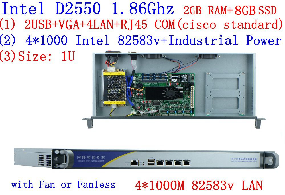 Firewall Software Network Router Server With D2550 4 Ethernet Support PFS ROS Panabit PFSense Monowall WAYOS 2G RAM 8G SSD