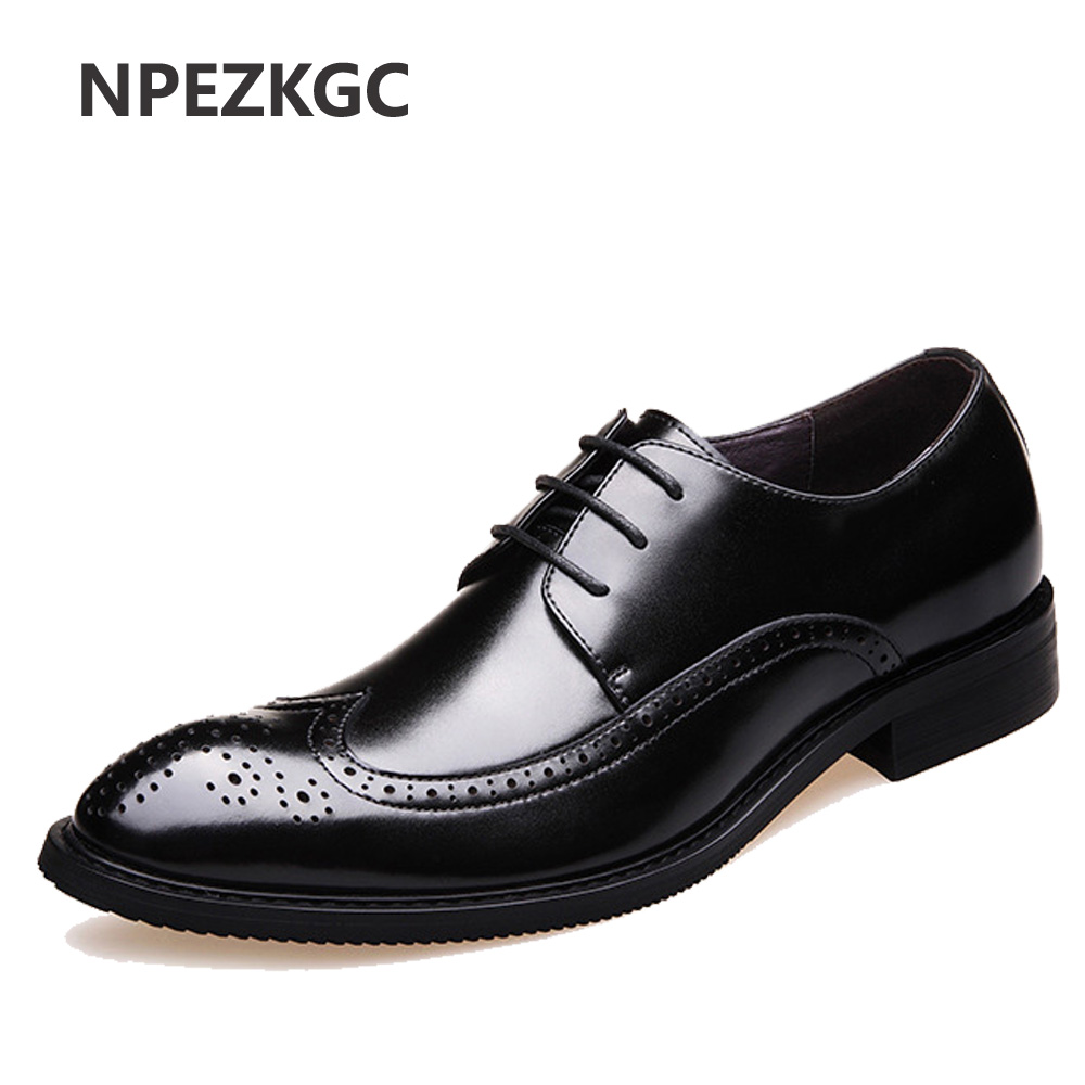 NPEZKGC New 2018 Luxury Leather Brogue Mens Flats Shoes Casual British Style Men Oxfords Fashion Brand Dress Shoes For Men 2017 new fashion men formal leather dress shoes quality brand mens dress oxfords flats plus size 38 46