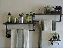 American retro iron pipe racks bathroom towel rack shelf bookcase wall mount decorative wood word