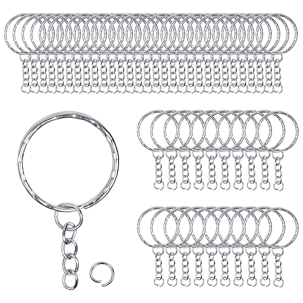 Nickel Split Rings 28mm Keyring Hook Loop Leather Craft x20