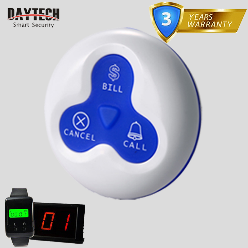 DAYTECH 1 PCS Wireless Call Buttons for Restaurant Waiter Calling Pager Queue System with 3 Function Keys E-03A restaurant kitchen call system k 999 302 with 1 pcs keypad and 1 pcs display showing 2 digit number
