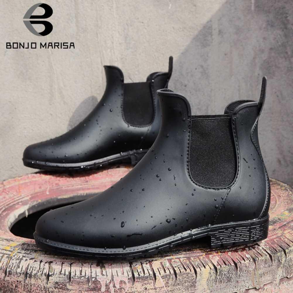 BONJOMARISA Yeni Sonbahar Siyah Su Geçirmez Ayakkabı Kadın Zarif Chelsea Çizmeler Kadın slip-on Patik Düşük Topuklu yarım çizmeler