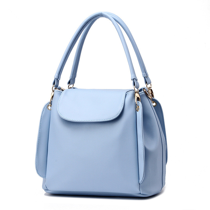 Fashion PU Women Handbag Shoulder Bag Casual Travel Bag Bucket Bag Light Blue Clamshell Crossbody Messenger цены