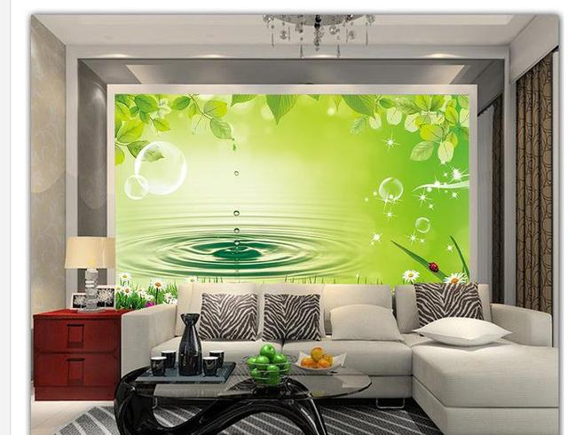 3d customized wallpaper photo 3d wallpaper Green leaf water droplets blisters landscape mural wall 3d wallpaper