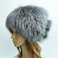 High quality women winter hats genuine fox fur hats knitted silver fox fur caps female caps skullies beanies