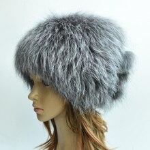 Высокое качество женщины зимние шапки подлинная фокс меховые шапки вязаные silver fox меховые шапки женские шапки skullies шапочки
