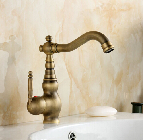Antique Brass Faucets Kitchen Swivel Sink Bathroom Basin Faucet Mixer Tap With Brass Material Deck Mounted