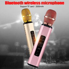 Metal Portable Wireless Microphone Bluetooth Karaoke Support TF Card Karaoke Super Bass Renewal Handheld Microphones for Music марк ронсон super karaoke hits 2015