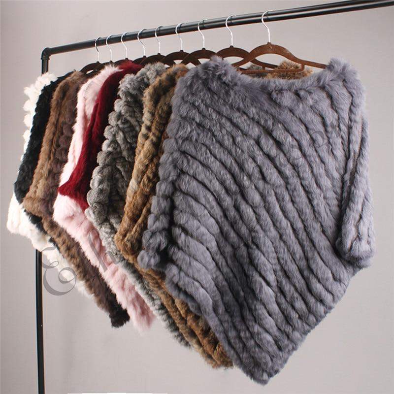 ETHEL ANDERSON Real Fur Knitted Rabbit Fur Poncho Vest Vest Fashion Wrap Coat Vtg Shawl Lady