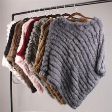 ETHEL ANDERSON Real Fur Knitted Rabbit Fur Poncho Vest Vest Fashion Wrap Coat Vtg Shawl Lady Natural Fur Wedding Party Wholesale