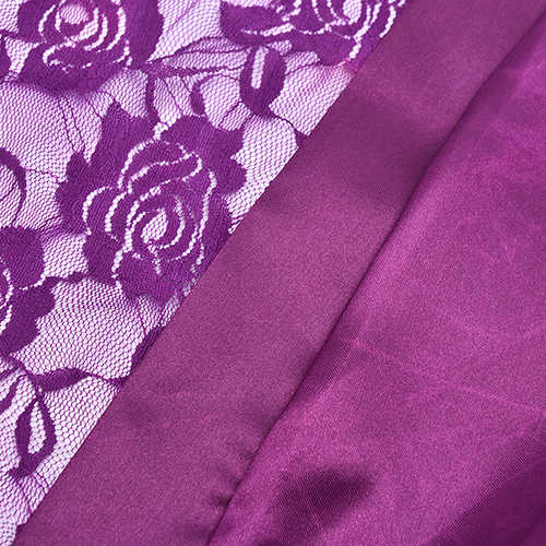 ホット販売セクシーなランジェリーシルクレース黒着物親密なパジャマまたはローブナイトガウン黒紫 Colorsr エロ下着セット