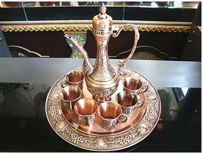 Handwork plate, copper brass plated metal wine /tea fashion zinc alloy wine  1 plate+1 pot+6 cups Decoration Silver BrassHandwork plate, copper brass plated metal wine /tea fashion zinc alloy wine  1 plate+1 pot+6 cups Decoration Silver Brass