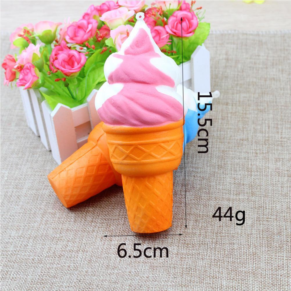 1 PCS Cute Squishy Rainbow Ice Cream Soft Toy Strap Super Slow Rising Bread Bun Cake Sweet Charm Scented Party Gift For Kids