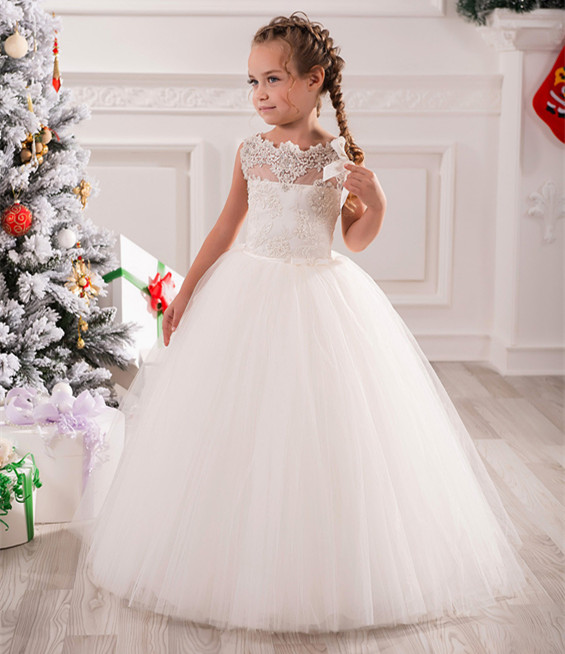 White Flower Girl Dress for Wedding Ankle Length Lace Appliques Sleeveless O-neck Vestidos Primera Comunion цены онлайн