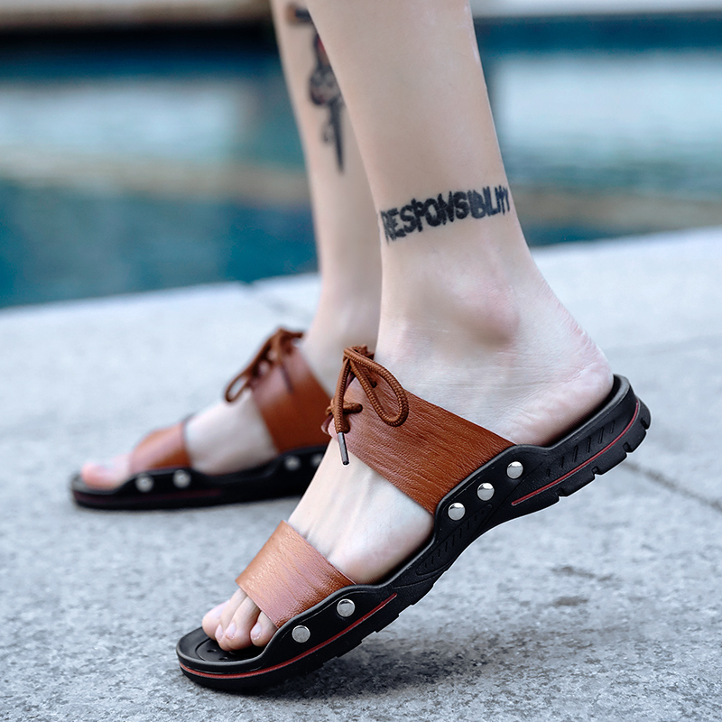Sandal Men Shoes Summer Mens Slip On Sandals Fashion Luxury Shoes Men Water Beach Slipper Black White Male Casual Slides in Slippers from Shoes