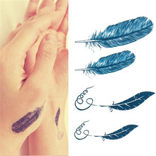 1x Glitter Feathers Tattoo Sticker Art Temporary Tattoo Paper Water Color Tattoos Feather Design Stickers