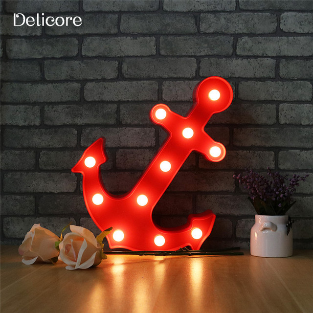 Aliexpress buy delicore new arrival red anchor night light 11 delicore new arrival red anchor night light 11 led marquee sign light up vintage plastic wall aloadofball Choice Image