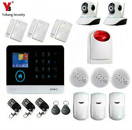 Yobang Security Wireless GSM WIFI APP Remote Control Russian Spanish Franch Dutch Alarm System With IP Camera Smoke Detector yobang security app remote control home office security wireless outdoor siren alarm system wireless smoke detector franch dutch