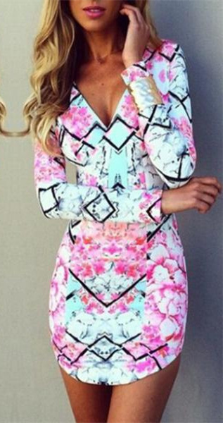 Hot Sale 2015 Summer Fashion Dress Women Dresess Plus Size vestidos Print Mini Summer Style Deep V-neck Casual Elegant WD163