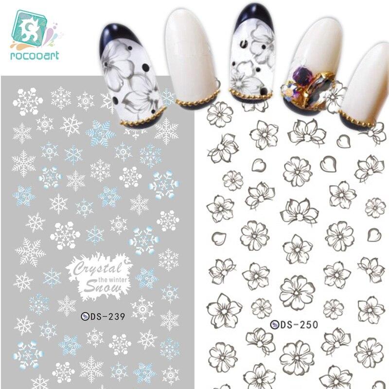 DS239 DIY Designer de Unhas De Transferência De Água Art Sticker Branco Do Floco De Neve do Inverno harajuku Prego Wraps Foil Sticker manicure adesivos