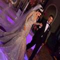 Luxo Champagne Da Sereia Do Vintage Vestido de Noiva 2016 Lace Vestido De Noiva Lantejoulas Sheer Colher Manga Comprida Muçulmanos Vestidos de Casamento