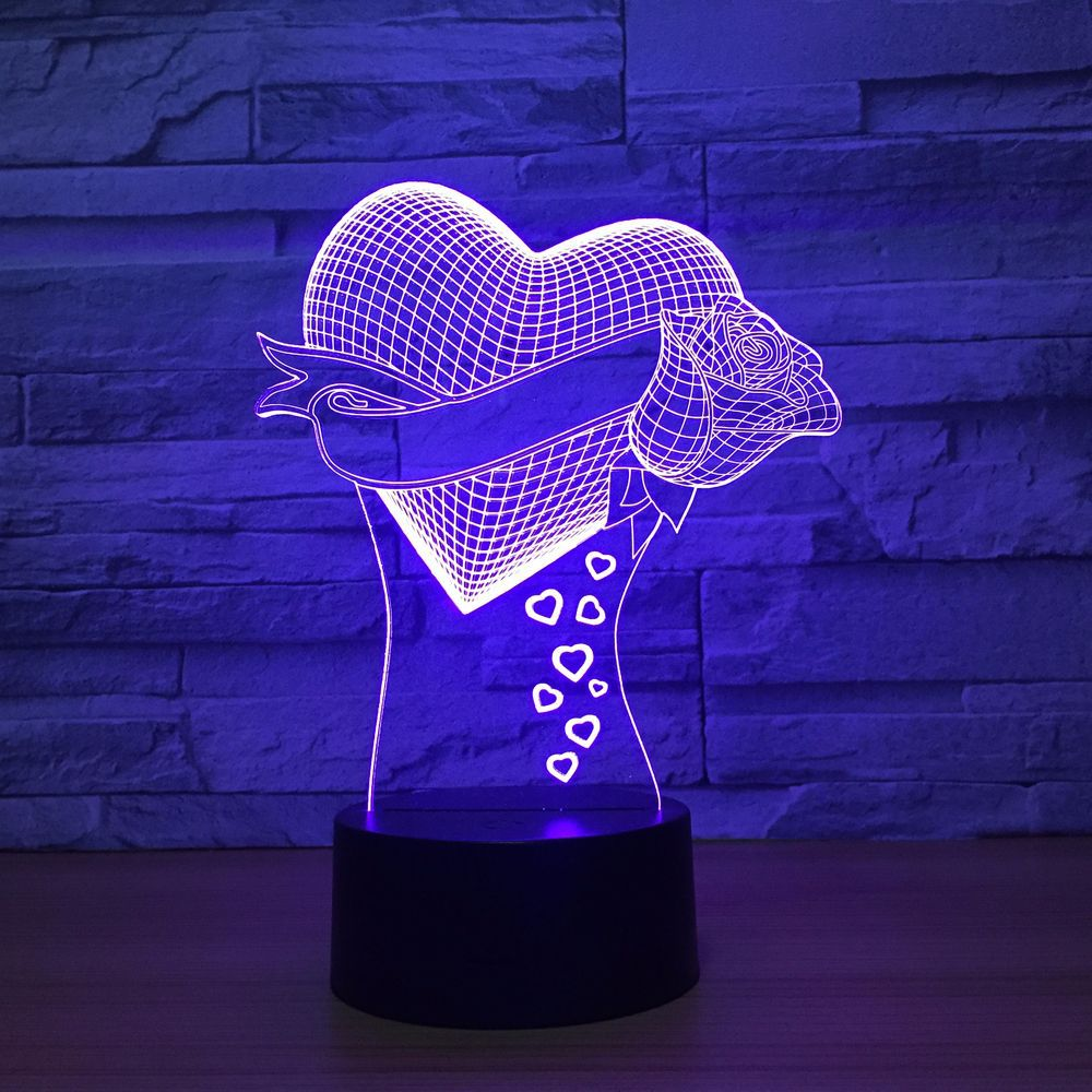 Unique Mom's Gifts Romantic love Rose Flower 3D Led Night Light 7 Color Change Novelty Table Lamp Home Decor Bedside LED Lamp